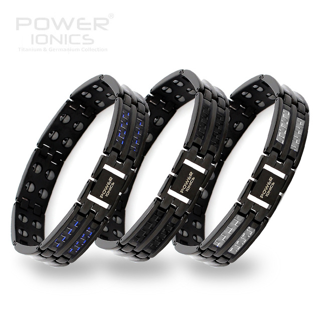 Power Ionics Black Mens 100% Pure Titanium Magnetic Therapy Bracelet Wristband