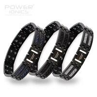 Power Ionics Black Mens 100 Pure Titanium Magnetic Therapy Bracelet Wristband