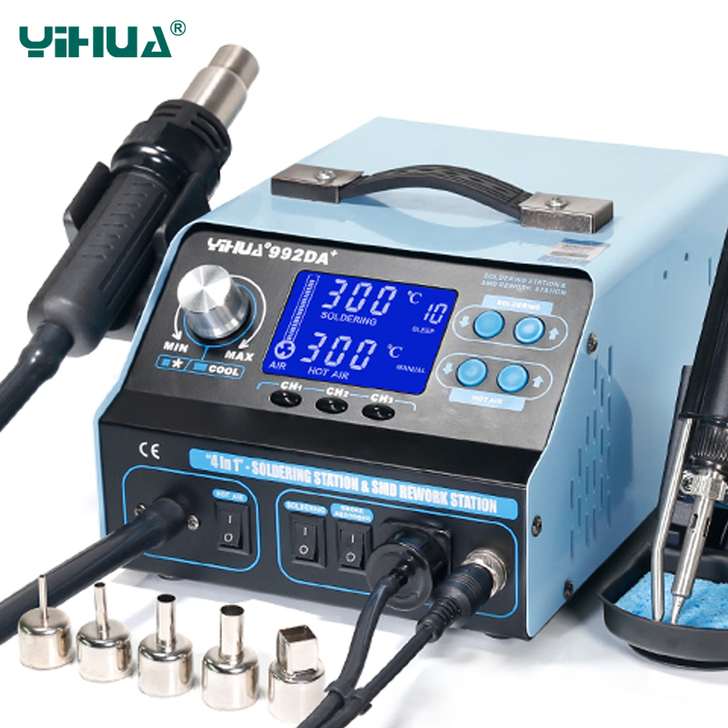 Soldering 220V Smoke With 110V Soldering Vacuum Soldering Air Board Iron 992DA Repair Station YIHUA Hot BGA  Gun Station Rework