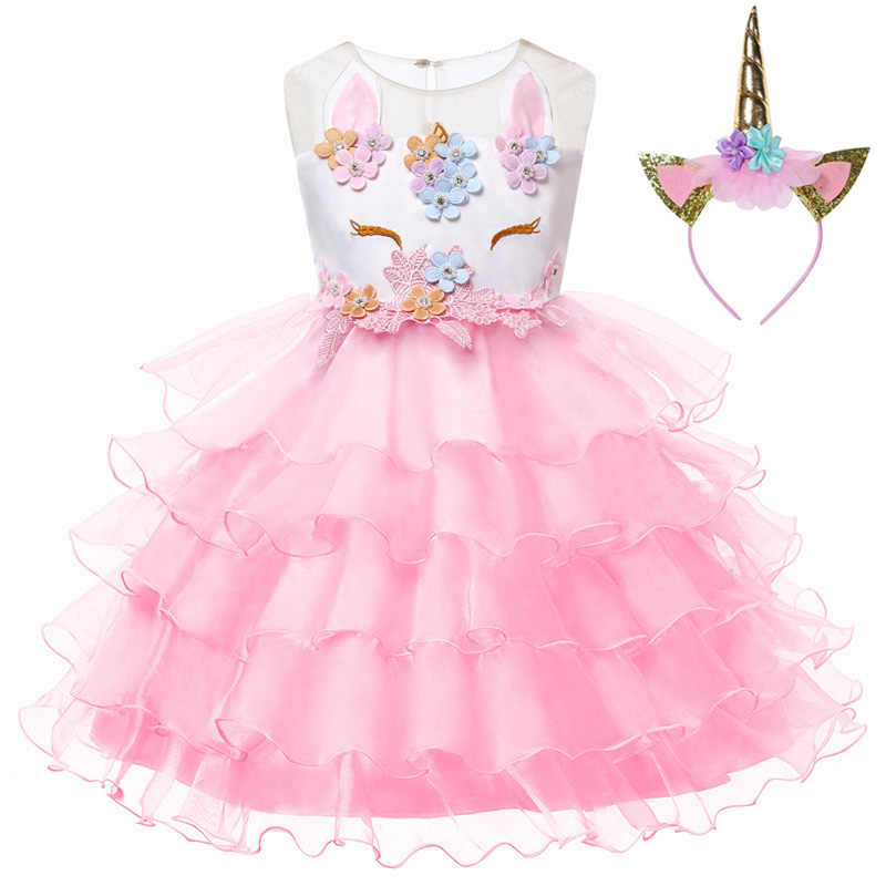 d9df7708a77e ... Kids Unicorn Pastel Rainbow Princess Tulle Dress for Girls Ball Gown  Baby Girl Wedding Party Costumes ...