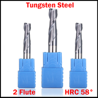 18mm 20mm OD Tungsten Carbide TiAIN Coated 2 Flute HRC58 CNC Cutting Tool Router Bit Milling Cutter Flat End Mill