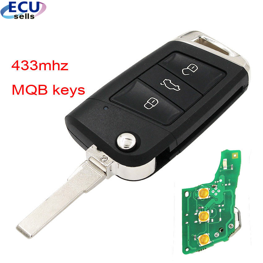 Folding Remote Key Fob 434MHz with ID48 Chip for Volkswagen MQB For Golf VII Golf 7 MK7 Skoda Octavia A7 2017 FCCID: 5G0 959 753-in Car Key from Automobiles & Motorcycles