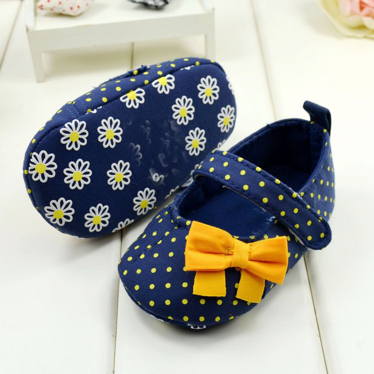 Fashion Mary Jane Shoes Toddler Baby Girl Yellow Dots Bow Soft Cloth Shoes 0-12M