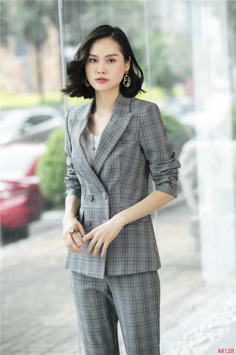 76e095390d79 Nuevo 2019 Formal elegante mujer pantalones de tela trajes Blazer y  chaqueta conjuntos gris Plaid señoras