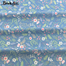 Booksew Telas De Algodon Para Patchwork Blue Sewing Material 100% Cotton Tecido Printed Floral Leaf Fabric Dye Twill DIY Textile(China)