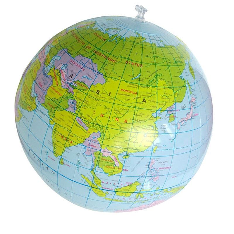 SLPF 40cm Inflatable World Globe Creative Inflatable Beach Ball PVC Map Plate Children Teaching Kids Baby Game Toys Ball Hot N17