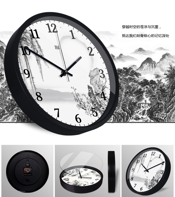 Chinese style ink painting wall clock Black and white landscape Picture decoration Living room personalized watches