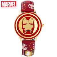 Marvel Avengers Iron Man Stark เด็กนาฬิกาสีแดงสีดำฮีโร่ต่อสู้เข็มนาฬิกาส่องสว่างนาฬิกาข้อมือ Disney Boy วัยรุ่น flip Clock