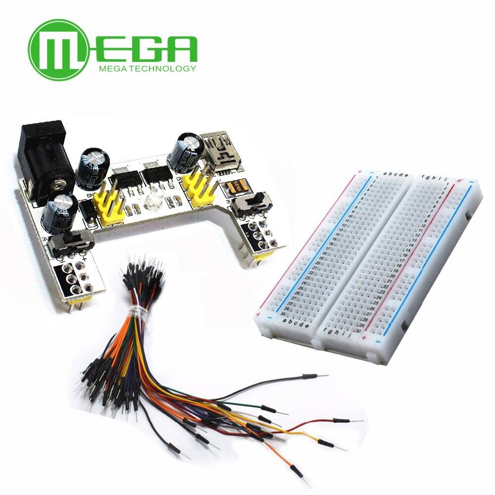 Mini Breadboard 400 MB102 Mini USB Power Supply Solderless+65PCS Jump Cable Wire