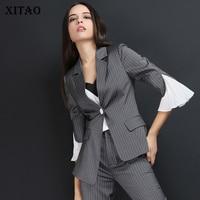 [XITAO] однобортный женский модный 2019 весенне летний Повседневный блейзер с карманом и вырезанным воротником, три четверти, DLL3061