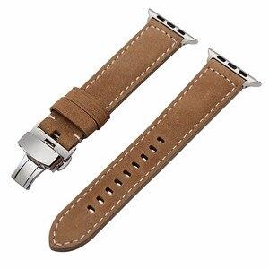 Image 4 - Italien Genuine Kalb Leder Armband für 38mm 40mm 42mm 44mm iWatch Apple Uhr SE Serie 6 5 4 3 2 1 Strap Handgelenk Band Braun