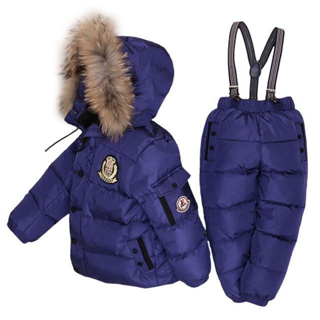 ボーイズ冬防寒着毛皮冬の女の子スーツアヒルダウン子供の男の子の服セット暖かい幼児ダウンパーカージャケットコート雪着用