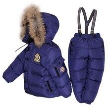 Jungen Winter Schneeanzug Pelz Winter Mädchen Anzug Ente Unten Kinder Jungen Kleidung Sets Warme Kleinkind Unten Parka Jacke Mantel Schnee tragen