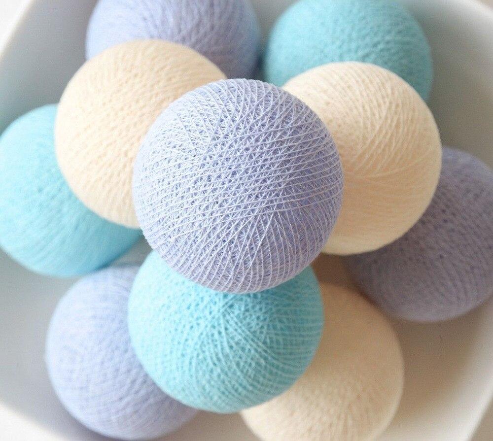 20 Balls/pcsPastel Lavender Cream Blue Mixing Cotton Ball String Fairy Lights Party Home Patio Wedding Romantic Decor