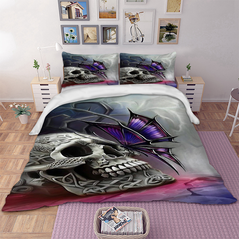 Skull Bedding Set Twin Full Queen King UK Double Size Cool Duvet Cover Pillow Cases Soft