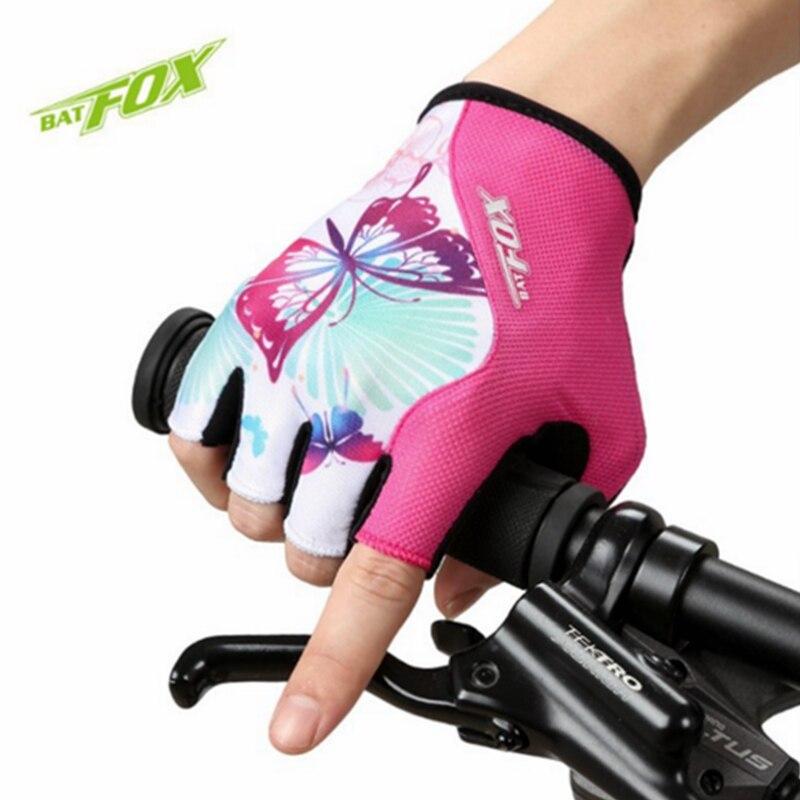 Luvas de Ciclismo Meia Luvas de Dedo das mulheres Borboleta Doce Curto Mão Proteger Accessorices Respirável À Prova de Choque Da Bicicleta Da Bicicleta