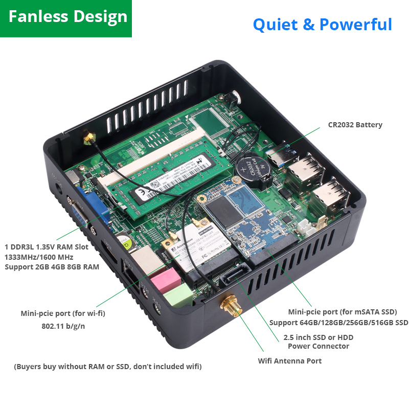 Image 3 - OLOEY Fanless Mini PC Intel Celeron N2930 Windows 10 4GB RAM 120GB SSD 300Mbps WiFi Gigabit Ethernet HDMI VGA 5*USB HTPC-in Mini PC from Computer & Office