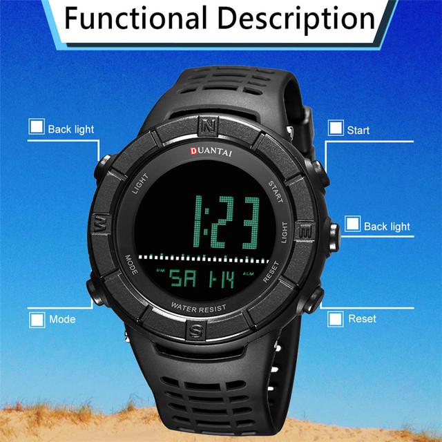 6.11 DUANTAI Quartz Watch Digital LED Waterproof Sports Military Clock