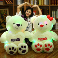 80cm Creative Light Up LED Lover Teddy Bear Stuffed Animals Plush Toy Colorful Glowing Cute Teddy Bear Christmas Gift for Kids