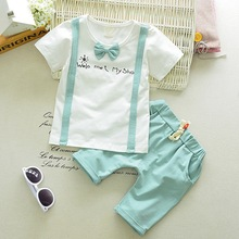 Summer Casual Newborn Baby Boy Cute Cotton Bow T-Shirt And Bib Pant Kit Kids Toddler 2pcs Gentleman Outfit Set 0-4Y