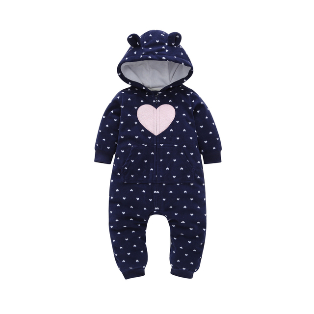 2018 autumn winter newborn baby clothes cotton cute loving heart design one-piece romper hooded Infant baby boy girl Jumpsuit