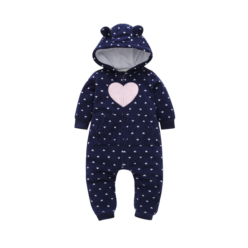 Long sleeve hooded love heart designer jumpsuit for baby girl boy clothes unisex new born   rompers   2019 spring newborn costume