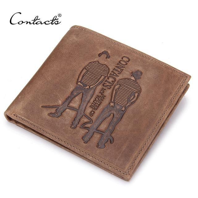 1e74b6f44 CONTACT'S de cuero genuino de los hombres carteras delgado hombre corto cartera  bolso de hombre de