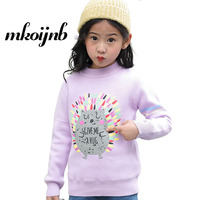 2018 Teenage Girls Cartoon Sweater Kids O neck Print Letter Sweaters Thicken Winter Children Clothes 4 5 6 8 9 10 11 12 Years