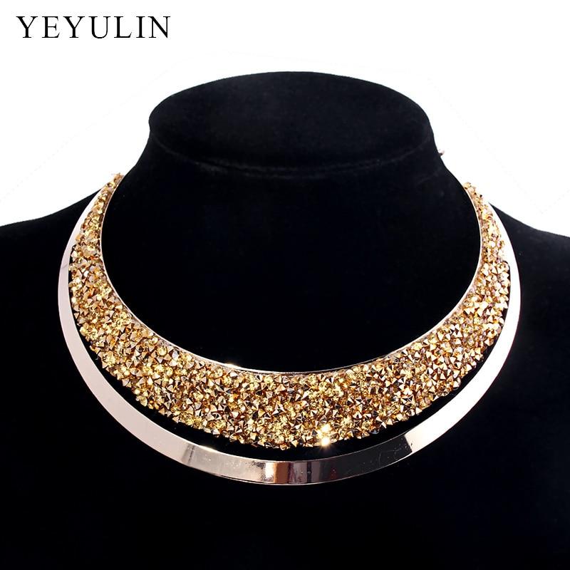 Colar de gargantilha de cristal cheio de luxo exagerada maxi instrução gargantilha colar colares bijoux jóias para mulher