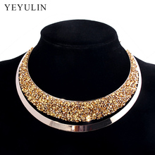 Luxury Full Crystal Choker Necklace Exaggerated  Maxi Statement Choker Collar Necklaces Bijoux Jewelry For Women недорого