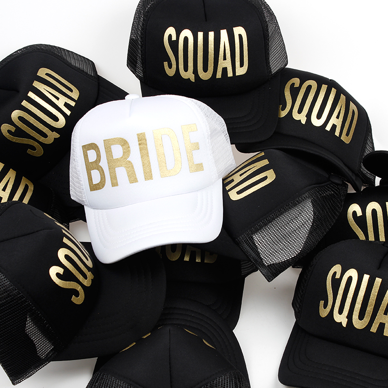 Wedding party baseball caps wholesale bride squad printing mesh snapback hat women sports hats female casual caps cntang brand summer lace hat cotton baseball cap for women breathable mesh girls snapback hip hop fashion female caps adjustable