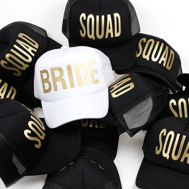 Wedding party baseball caps wholesale bride squad printing mesh snapback hat  women sports hats female casual caps 1dd48422705