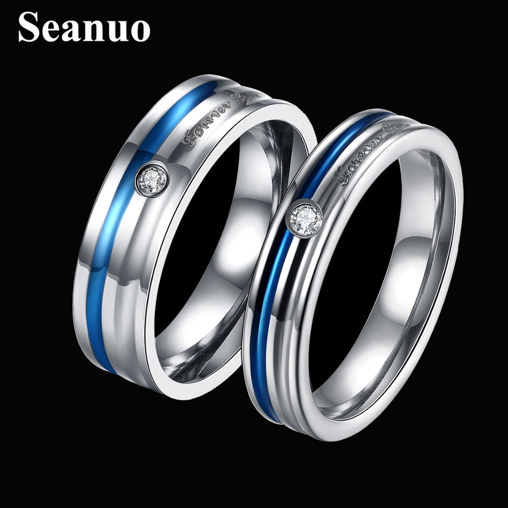 6mm Blue Striped Zircon Filled Love Band Stainless Steel Wedding  Rings For Couples Fashion Mens Womens Finger Rings