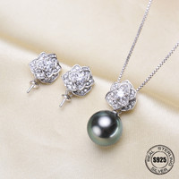 Fashion Micro Pave Zircon Camellia Sterling Silver Jewelry Sets Accessories Making DIY Handmade For Women Pearl Jewelry Findings
