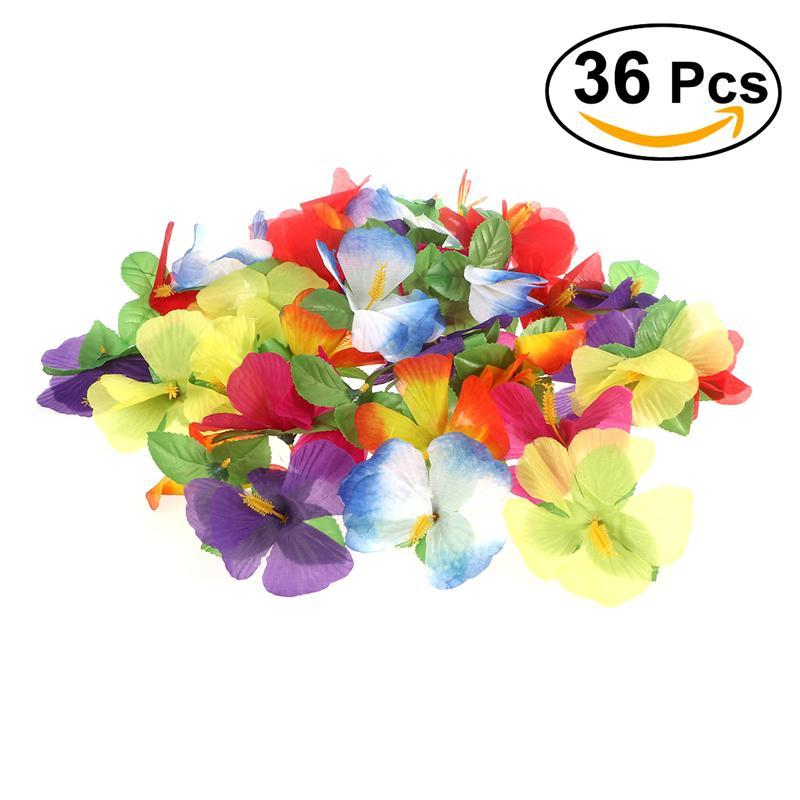 36pcs Hawaiian Artificial Flowers Hibiscus Flowers for Tabletop Decoration Party Favor P ...