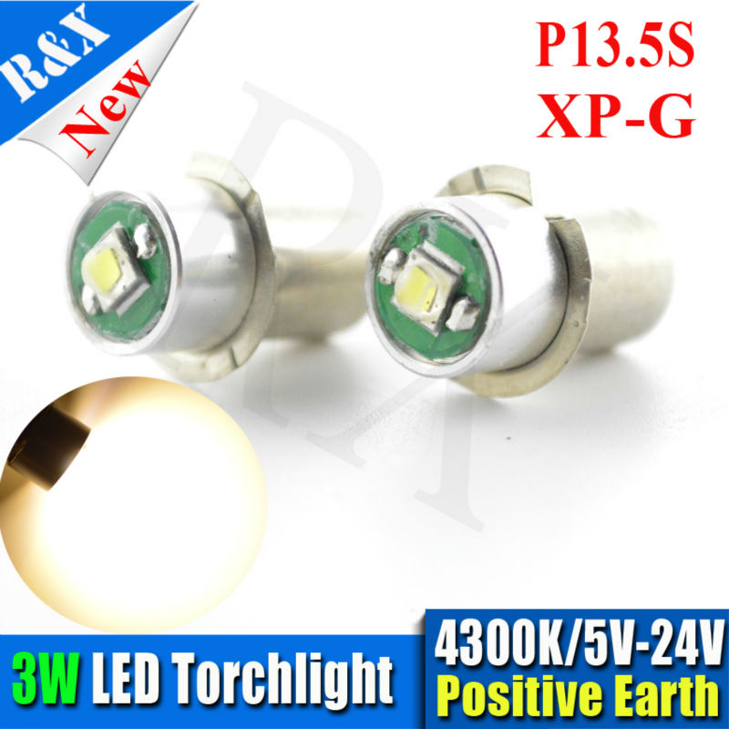 2XHigh power 3W P13.5s PR2 PR3 Warm White 4300K Maglite LED Bulb 5V-24V Magnum Torch flashlight фонарь maglite 2d синий 25 см в картонной коробке 947191
