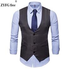 2019 New men Dress suit vest Tops Cotton Fashion Design Suit Vest Mens High-end Business Casual Vests US size