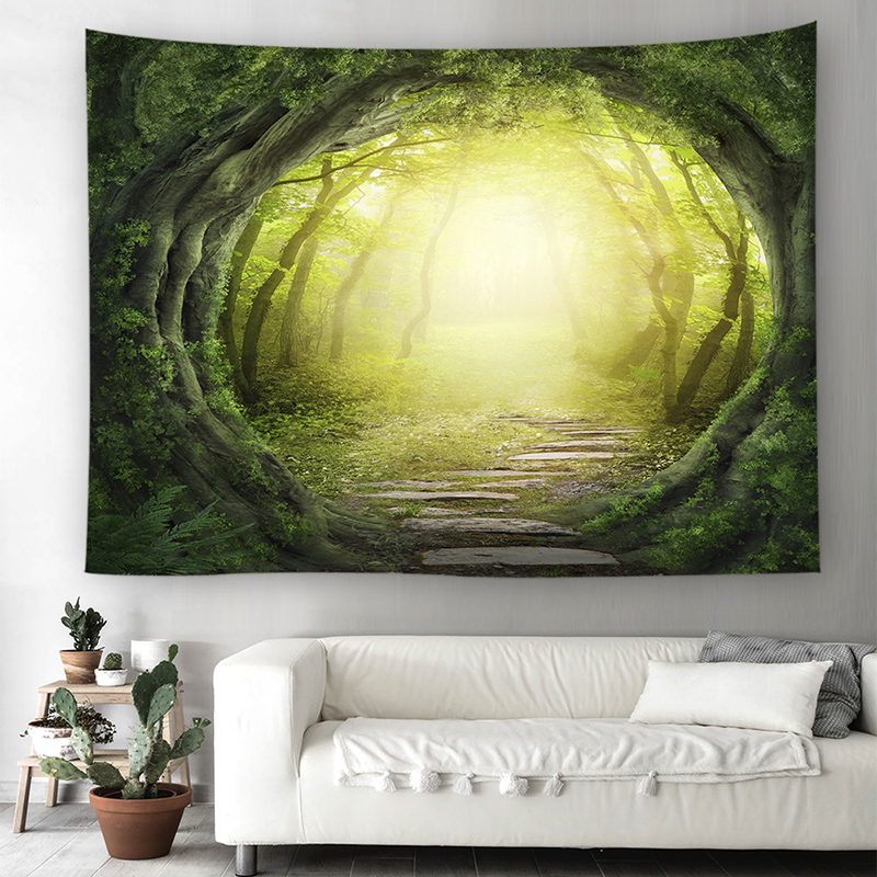 Fresh Morning Forest Printing Wall Decor Tapestry Wall Hanging Beach ...