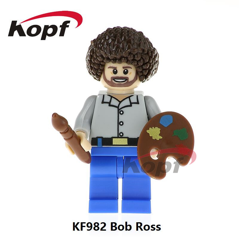 Single Sale Super Heroes American Painter Bob Ross The Joy of Painting Bricks Building Blocks Christmas Toys for children KF982 single sale building blocks super heroes bob ross american painter the joy of painting bricks education toys children gift kf982