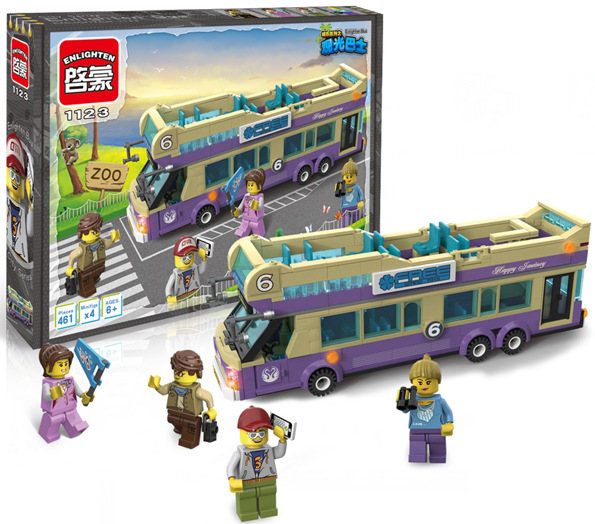 building block set compatible with lego city sightseeing bus 3d