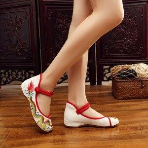 Image 2 - Veowalk Handgemaakte Vrouwen Katoen Ballet Flats Chinese Draak Borduurwerk Dames Oude Beijing Schoenen Casual Ademend Rijden Schoenen