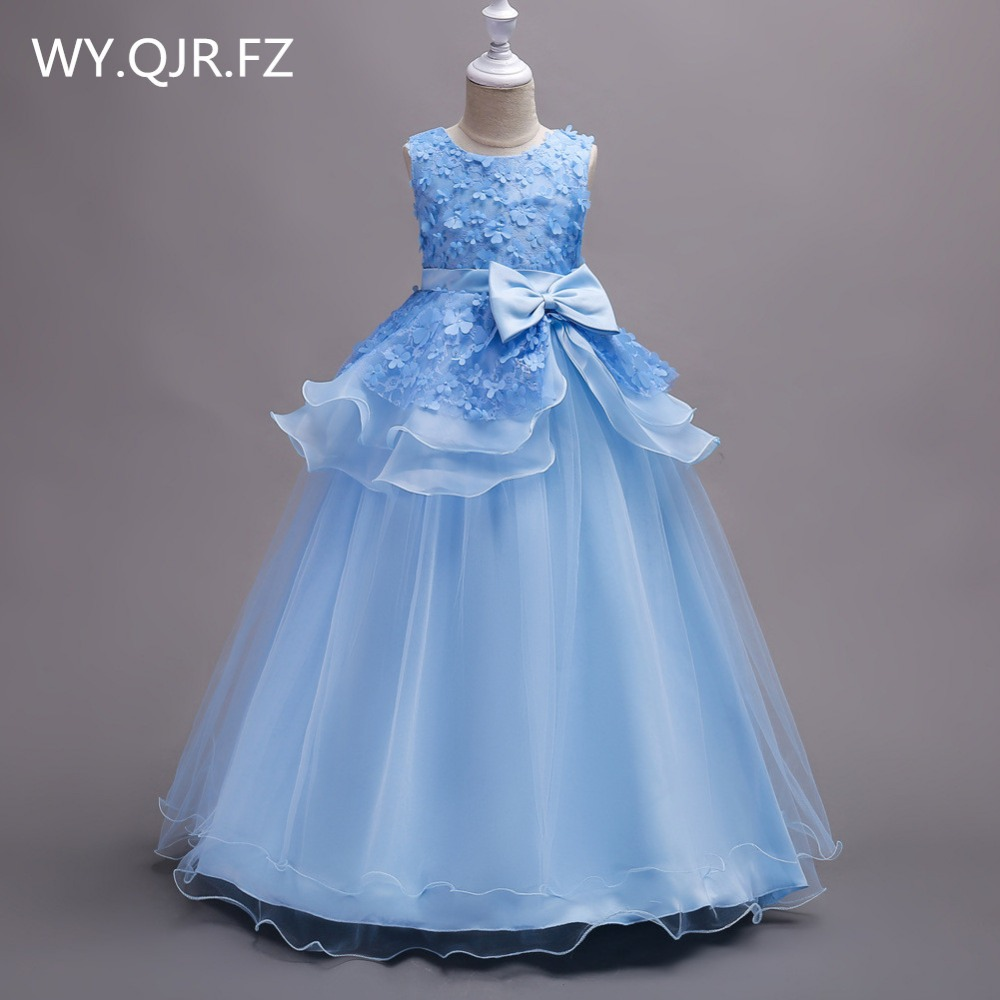 BH722L#June 1 children's day performance Blue   Flower     Girl     Dresses   Cheap children's wear wholesale Princess party prom   dress