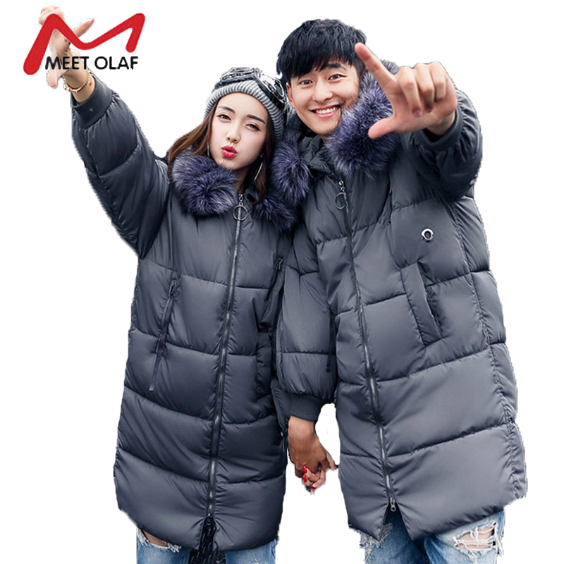 2017 Coupon Clothes Winter Women Coats Hooded Long Loose Jackets Lovers Female Down Cotton Padded Parkas Overcoat Wadded Y1001 new women winter cotton padded hooded parkas medium long wadded jackets female warm embroidery woman clothes overcoat cxm93