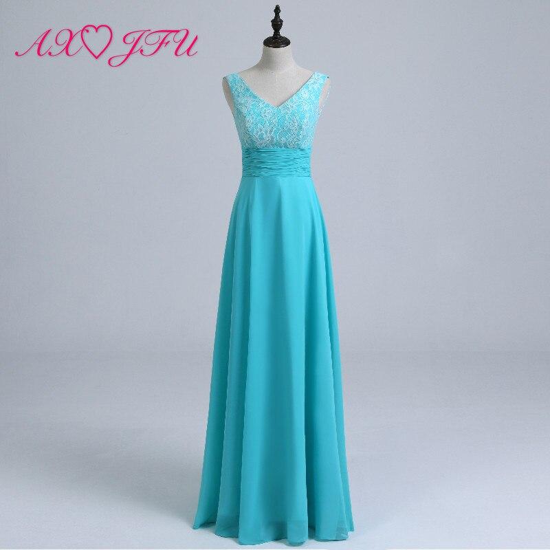 AXJFU Princess v neck blue chiffon   Bridesmaid     Dress   blue lace flower sleeveless a line vintage   Bridesmaid     Dress   100%real photo