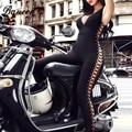 Bqueen 2017 nova moda v profundo lace-up oco out sexy bandage macacões sólidos preto bodysuits completos