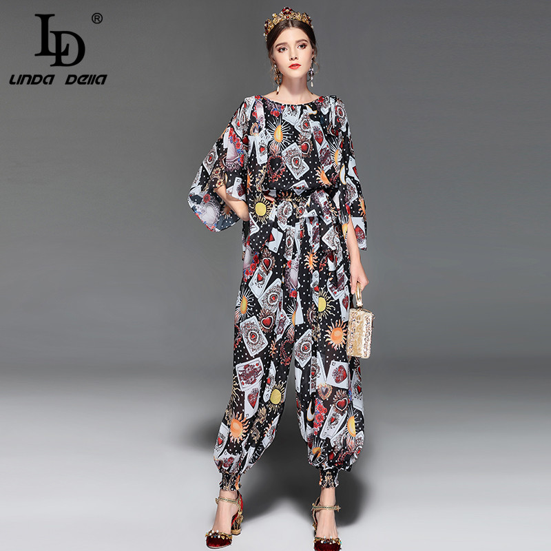 LD LINDA DELLA Fashion Runway Jumpsuit Women Loose Chiffon Playing cards Printed Vintage ankle length Pants Overalls Rompers ...