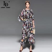 LD LINDA DELLA Fashion Runway Jumpsuit Women Loose Chiffon Playing Cards Printed Vintage Ankle Length Pants