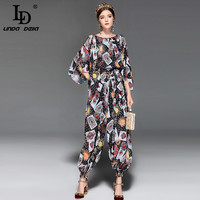 LD LINDA DELLA Fashion Runway Jumpsuit Women Loose Chiffon Playing Cards Printed Vintage Ankle Length Pants