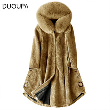 DUOUPA Sheep Shearing Overcoat Women 2018 Real Fur Coat Female Jacket Long Winter Warm Lamb Coats casaco feminino