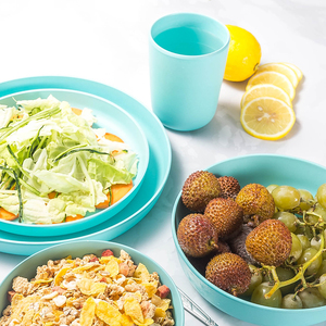 Image 2 - Lekoch Europäischen geschirr 5 stücke blau Bambus faser Haushalt Geschirr Set Einfache gerichte salat Suppe schüssel Steak platte Westlichen gericht